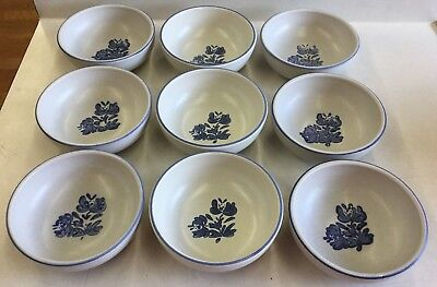 Lot of 9 Vintage Pfaltzgraff YORKTOWNE Blue Floral Small 5 inch Fruit Bowls
