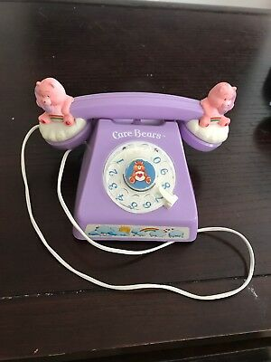 Vintage Care Bears cheer Bear Funshine Dial Up Home Land Rotary Phone 1983