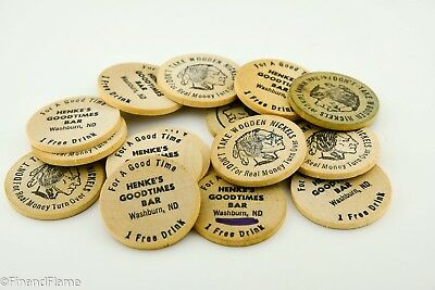 Vintage Henke's Good Time Bar Wooden Nickle Token Lot DB27