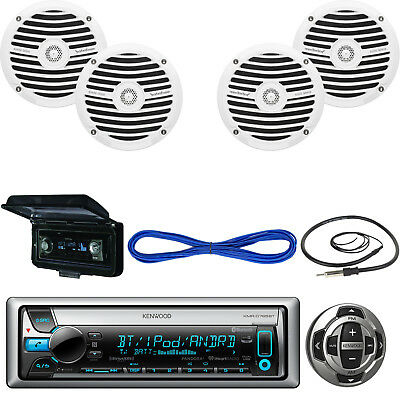 """Kenwood Marine Receiver, Wired Remote, 2X 6.5"""" Speakers, Wire, Antenna, Cover"""