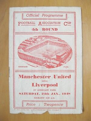 MANCHESTER UNITED v LIVERPOOL FA Cup 1947/1948 Fair Condition Football Programme