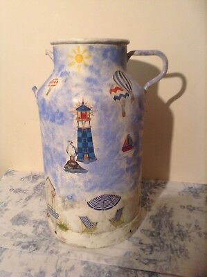 Vintage French Decorated Milk Churn - Hand Painted Beach Scene (2568)