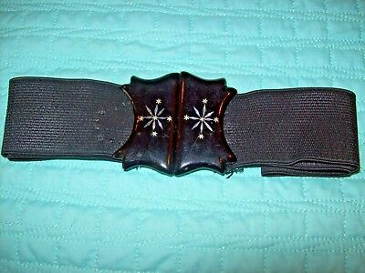 Antique Belt-Black Lacquered Buckle with M.O.P.. inlay, Elasticated,Fancy Dress?