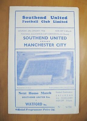 SOUTHEND UNITED v MANCHESTER CITY FA Cup 1955/1956 *Exc Cond Football Programme*