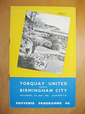TORQUAY UNITED v BIRMINGHAM CITY FA Cup 1955/1956 *Exc Cond Football Programme*