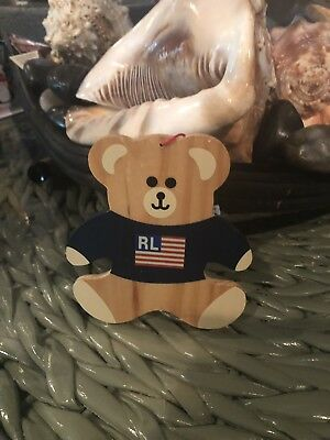 Ralph Lauren Fragrances 1996 Wooden Teddy Bear Ornament
