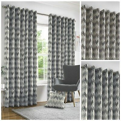 Chenille Chevron Geometric Curtains Rich Heavy Weight Woven Blockout Lined Pair