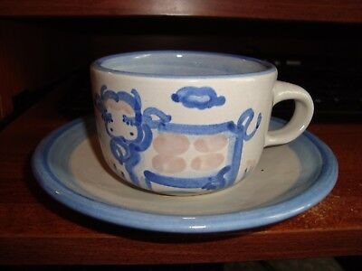 M.a. Hadley Pottery The End Cup Saucer Cow Signed