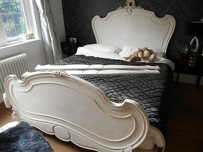 VINTAGE ANTIQUE WHITE BED SURROUND WOOD FRAME King Size French shabby chic style