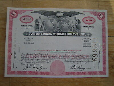 Hist. Wertpapier - Pan American World Airways Inc. - 1969 - 100 Shares - rot