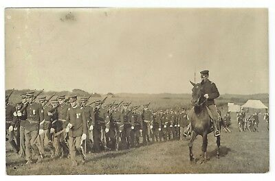 troops on the march,  real photo .  azo paper