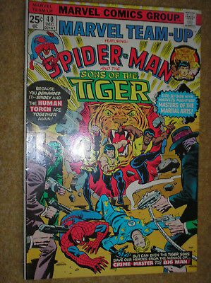 MARVEL TEAM-UP # 40 SPIDER-MAN SONS OF THE TIGER 25c 1975 BRONZE AGE COMIC BOOK