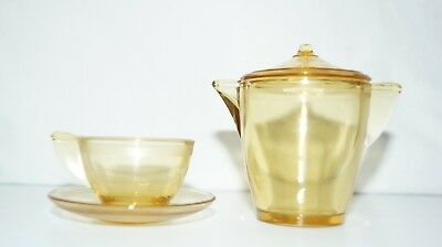Depression Glass Vintage 30's  Akro Agate Child's TEAPOT CUP & SAUCER, Amber