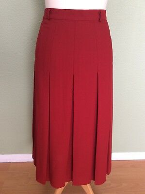 Vintage PITLOCHRY Scarlet Red Pleated Mid Length Skirt (UK12-14)BNWTS