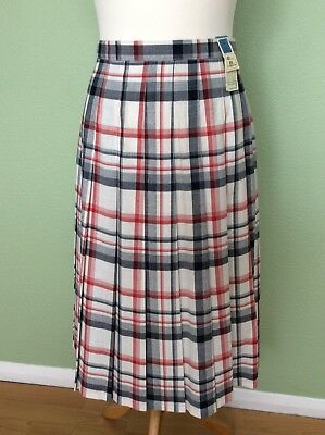 Vintage St Michael Red,white & blue Check Pleated Skirt (UK12-14)BNWTS