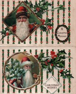 2 x Early Christmas Postcards with Santa , printed in Germany, Used