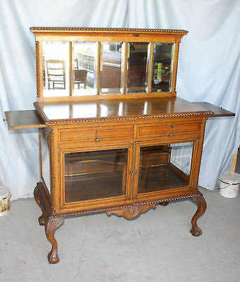 Antique Oak Silver Crystal Cabinet Buffet Server - Unique piece and Functional
