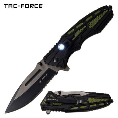 "Spring-Assist Folding Knife | Mtech Green Tactical EDC Black Serrated 3.5"" Blade"