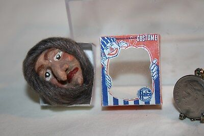 Miniature Dollhouse Realistic Halloween Rubber Mask Wicked Witch in Vintage Box