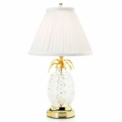 "Waterford Crystal Hospitality 18"" Pineapple Table Lamp w/ Pleated Shade"