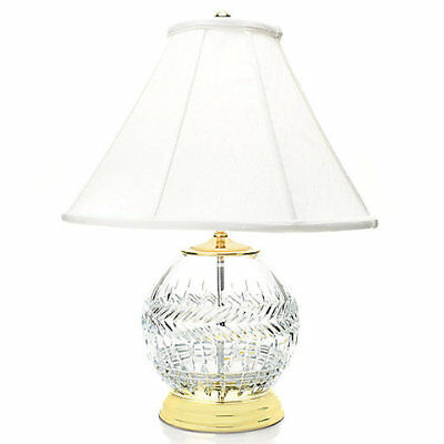 Waterford Meg Rose Crystal Bowl Wedge Cut Table Lamp w/ Silk Coolie Shade