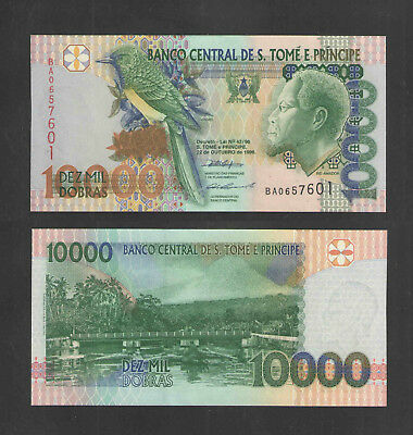 1996 ST THOMAS & PRINCE 10000 DOBRAS CATALOG # P66a CRISP UNCIRCULATED CURRENCY
