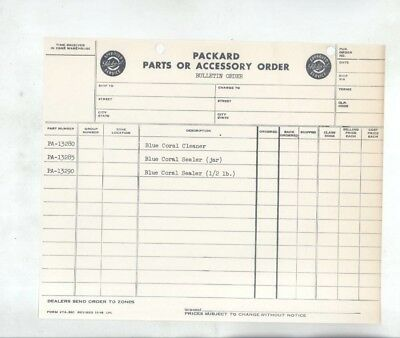 1949 Packard Blue Coral Wax Cleaner Order Form wz7602