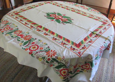 Vintage heavy cotton tablecloth bright red green yellow floral chicken design