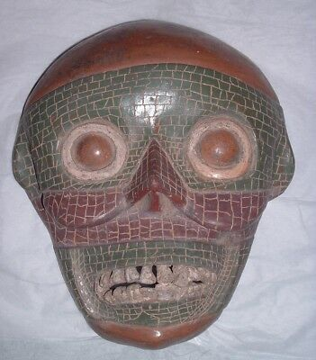 Antique Vintage UNIQUE Life Size Human Skull Pottery Clay Mask Mosaic Mexico