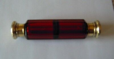 Antique Victorian Ruby Red Double Ended Perfume/smelling Salts Bottle