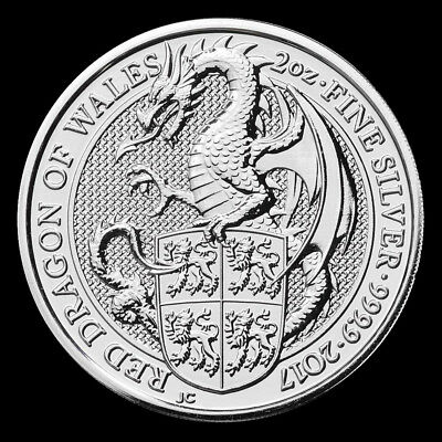 2017 2 oz Queen's Beast Red Dragon of Wales .9999 Fine Silver BU Coin