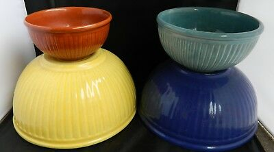 Vintage Set of four Nesting Ribbed Mixing Bowls