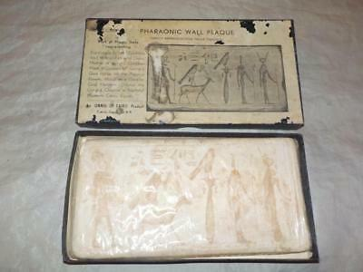 Vintage Boxed Plaster Replica Of Egyptian Wall Hierglyphics By Onnig Of Cairo