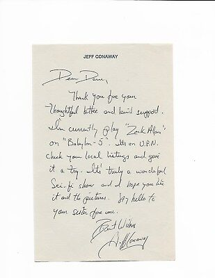 Jeff Conaway 1950-2011 Grease Signed 5X8 Letter & Signed W/ Letter-Head With/coa