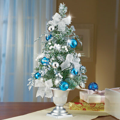 frosted lighted blue and silver fully decorated tabletop christmas tree