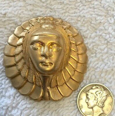 Vintage Rare Full Face Egyptian Revival Art Deco Deeply Struck Stampings 4 Pcs