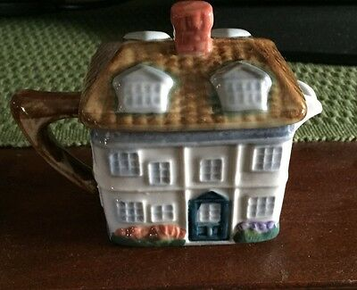 Hand Painted Ceramic Cottage Creamer W/ Lid