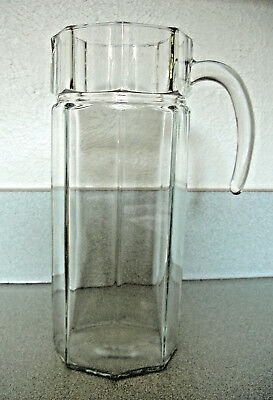 """EARLY 90's LUMINARC ARCOROC OCTIME CLEAR OCTAGONAL 10.5"""" GLASS PITCHER ~ FRANCE"""