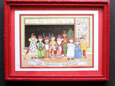 Mary Engelbreit The Christmas Pageant 1984 Vintage Me Framed Print In Red Frame