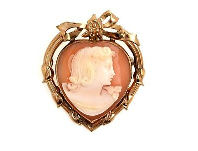 Vintage Carved Shell Cameo Pin or Pendant W/ 10K GF Heart Mounting