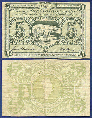 Greenland 5 Kroner 1953 Polar Bear - No Reserve
