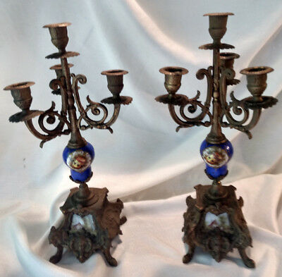 Antique French Painted Porcelain Brass Gilt Candelabras Pair Set Candle Holder