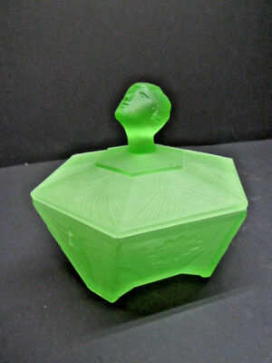 Ramses Art Deco Nude Frosted Green Glass Powder Jar