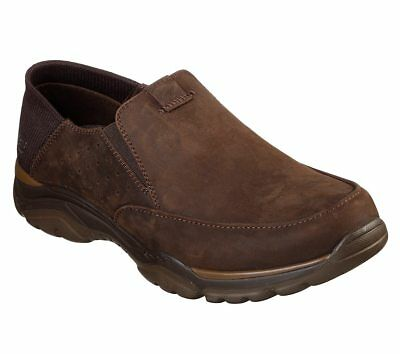 65719 Dark Brown Skechers shoes Men's Memory Foam Slip On Comfort Leather Loafer