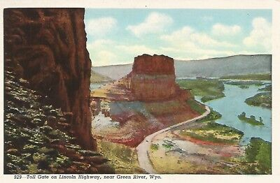 Green River WY Toll Gate on Lincoln Highway Postcard 1930