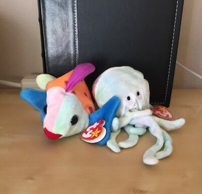 beff8aedb93 TY Beanie Babies - Jellyfish   Fish Ocean Creatures - Lot 2 - MINT CONDITION