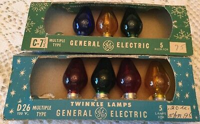 2 Vintage Boxes GE General Electric C7 Twinkle Lamps Light Bulbs NOS