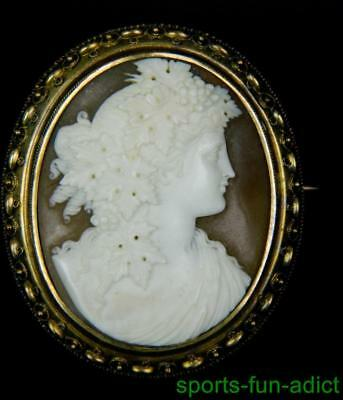 14K GOLD Exceptional antique true Victorian Carved Shell Bacchante Cameo Brooch