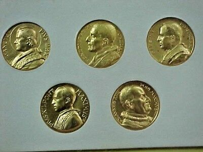 VATICAN, ITALY POPES OF THE 20th CENTURY GOLD GILT MEDAL COIN SET MINT