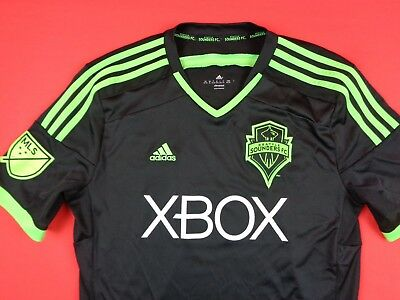brand new 0c29d 69f5a ADIDAS SEATTLE SOUNDERS FC MLS Youth Boys XL 16-18 Soccer Black Football  Jersey